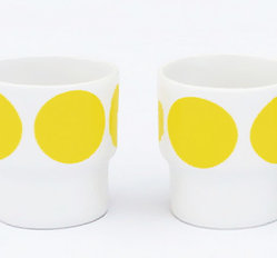 EGGCUPS yellow dots X2
