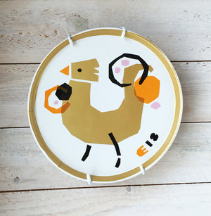 ROOSTER plate gold