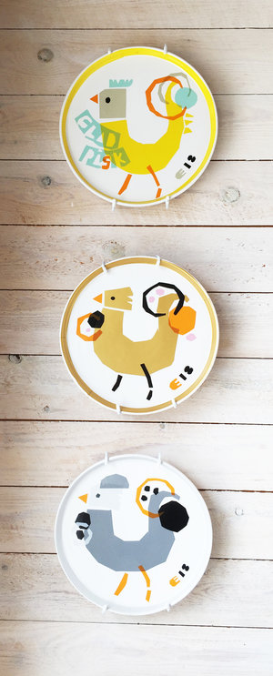 ROOSTER plate yellow