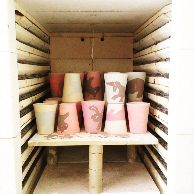 The MUT mugs entering the kiln to get their bisque birning.
