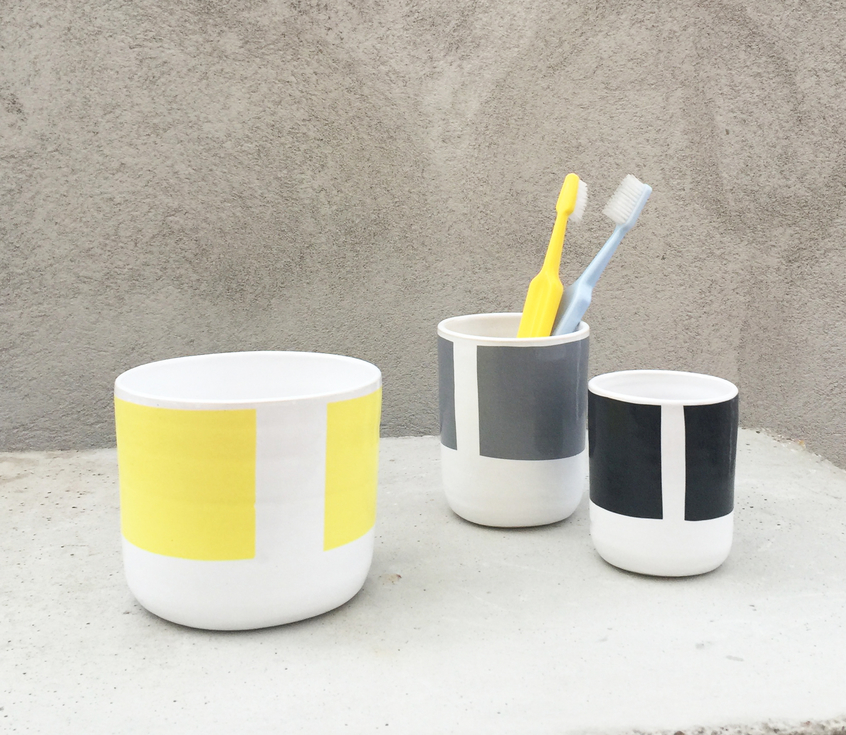 Toothbrush cups in three sizes.